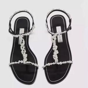 Zara T-Strap Slides With Faux Pearls Sz 7.5 EU 38